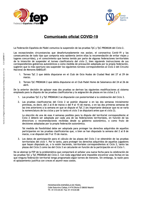 Comunicado oficial de la FEP por el coronavirus.